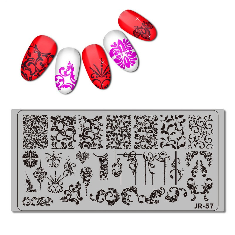 1pc Nail Template Vintage Swirl pattern Stamping Plate Flower Leaves Vine Stamp Template Manicure Nail Stamp Tools in Nail Art Templates from Beauty Health
