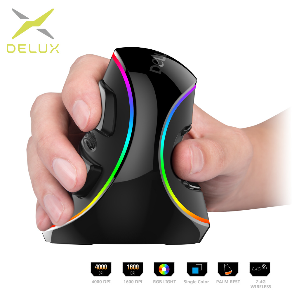 Delux M618 PLUS Ergonomics Vertical Gaming Mouse 6 Buttons 4000 DPI RGB Wired/Wireless Right Hand Mice For PC Laptop Computer