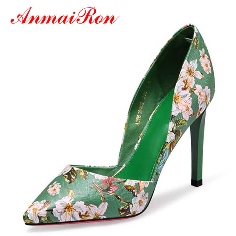 ANMAIRON Women Fashion Retro Printing Flowers Black Green Pumps High Heels Shoes Woman Platform Pumps Summer Shoes Woman Pumps