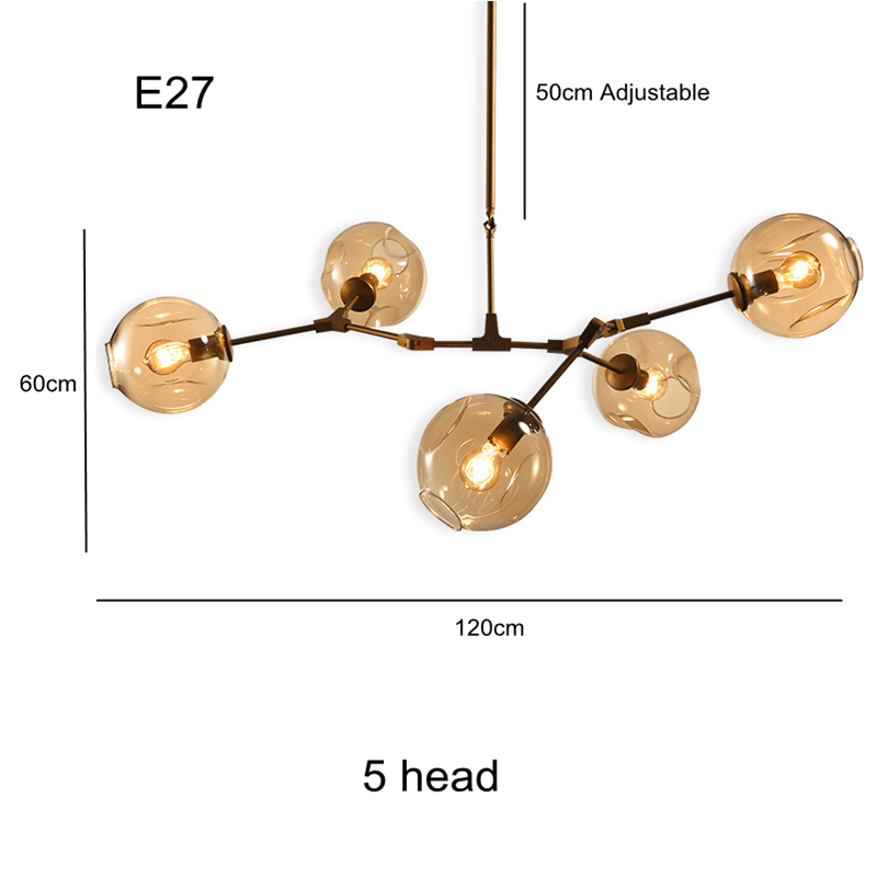 Bjornled Post modern Chandelier Light 5 head Nordic Art Decoration DNA 3W E27 led lamp clear amber Glass lampshade gold body
