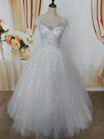 ZJ9099 2017 2016 new style fashion White Ivory lace beads crystal Wedding Dresses for brides plus size maxi with sleeve