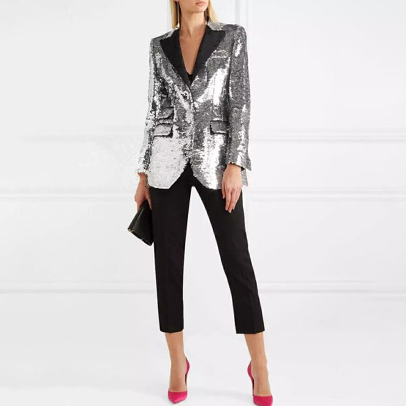 High Quality 2018 New Arrival Autumn Woman Fashion Blazers Elegant Sequined Slim Singled Breasted Office Lady Blazers