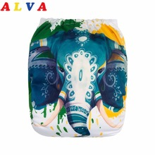 Cloth Nappy Alvababy Microfiber-Insert Resauble Diaper for with 1pc Positioned Digital