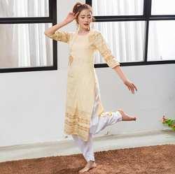 2019 индийский традиционный этнический Йога костюм хлопок ручной работы Топ кундалини желтые, с принтом платье