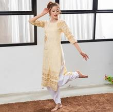 2019 India Traditional Ethnic Yoga Costume Cotton Hand-made Top Kundalini Yellow Printing Dress