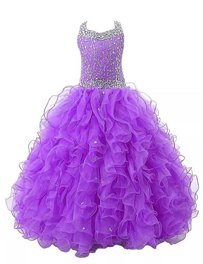 Luxury Crystals Girls Pageant Dresses Crystals Beaded Crew Toddler Formal Gowns with Ruffles Kids Party Dresses Custom Made цена
