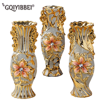 GQIYIBBEI European Decoration Ceramic Crafts Retro Advanced Ceramic Golden Vase Interior Study Corridor Home Wedding Decoration
