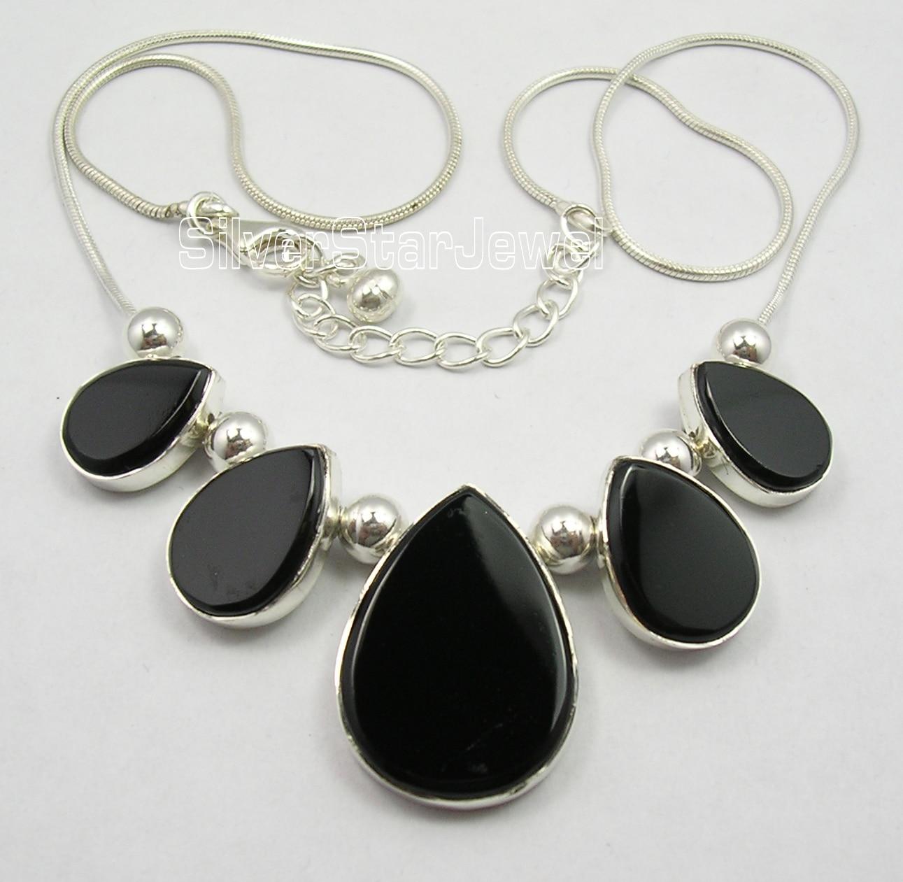 Chanti internacional Collar grande hecho a mano con gemas de ónix negro plano de plata pura de 18,5 pulgadas-in Collares colgantes from Joyería y accesorios    1