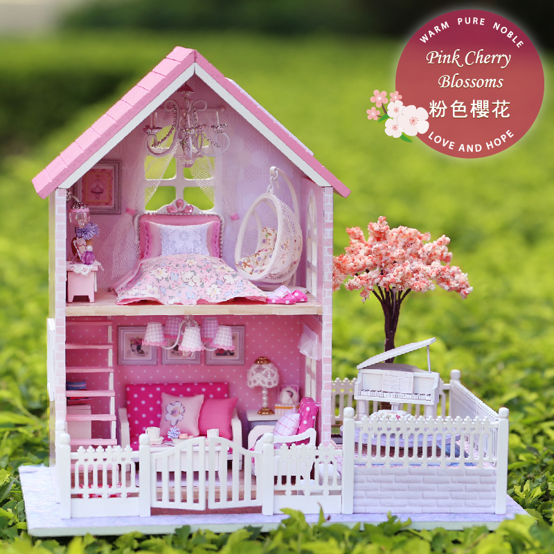ФОТО New DIY Miniature Dollhouse Wooden Toy House Furniture PINK CHERRY BLOSSOMS with music Lover Girl Birthday Christmas Gift Toys