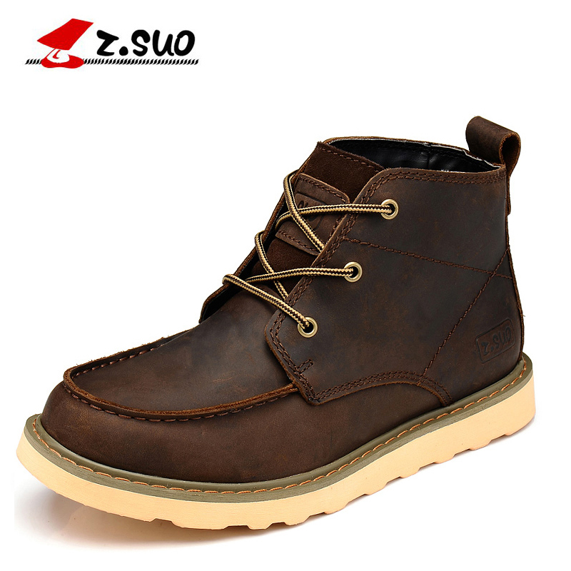 z.suo Winter Genuine Leather Men Ankle Boots Brown Autumn Outdoor flats botas hombre safety shoes Mens Fashion Boots Size 38-45 2016 new genuine leather ankle boots men flats shoes lace up casual outdoor shoes men oxford shoes autumn boots