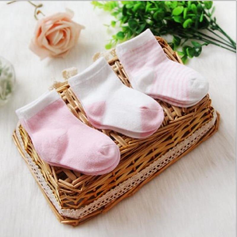 3pcs/lot Pink Newborn Baby Boy Girl Cartoon Cotton Soft Comfortable Socks Infant Cartoon Stripe Star Socks