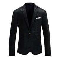 Модные Мужской Блейзер Цветочный повседневное тонкий пиджаки для женщин Новое поступление 2019 года модные вечерние однобортный мужской кос