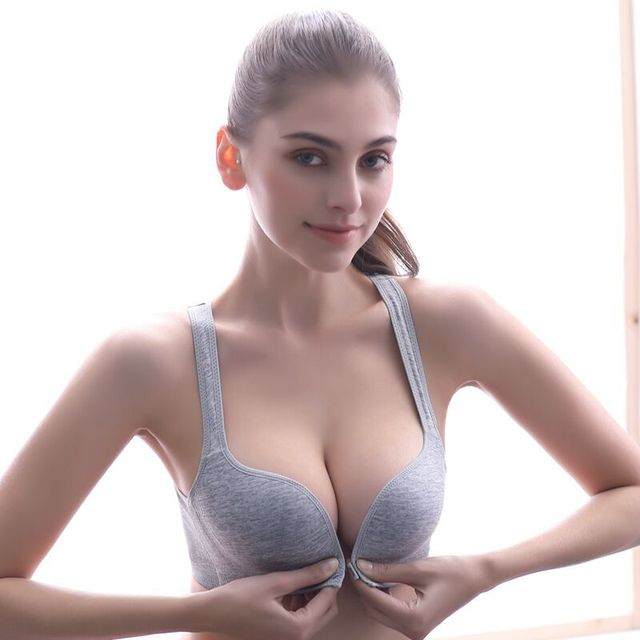 65b2286aa Women Sports Underwear Vest-Style Rimless Front Buckle Sports Bra Small  Chest Gathered Sexy Bra