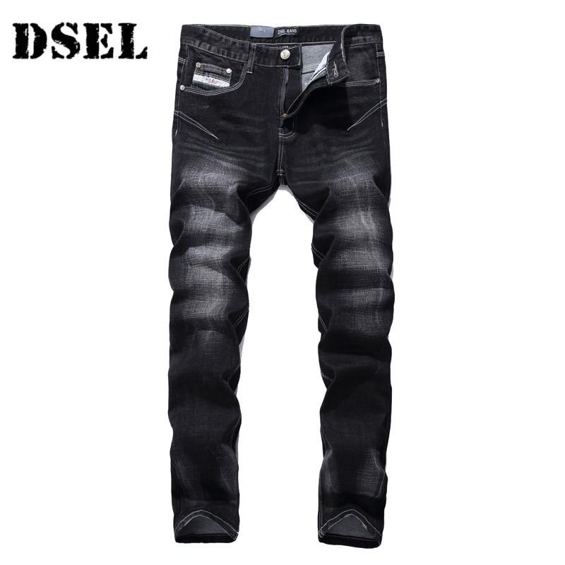 DSEL Streetwear Famous Brand Logo Jeans Men Solid Black Jeans Trousers Slim Straight Denim Stretch Men Skinny Jeans patch jeans men slim skinny denim blue jeans ripped trousers famous brand dsel jeans elastic pants star mens stretch jeans w701
