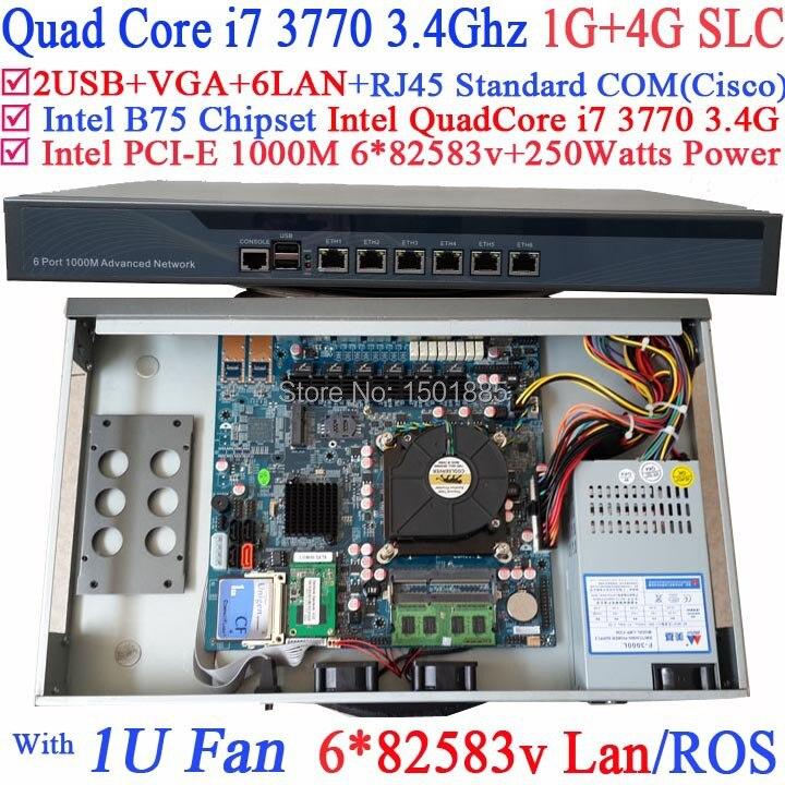 Ordinateur routeur pare-feu avec 6 Gigabit 82583 v Lan Intel Quad Core i7 3770 3.4 Ghz Wayos PFSense ROS soutien 1G RAM 4G SLC