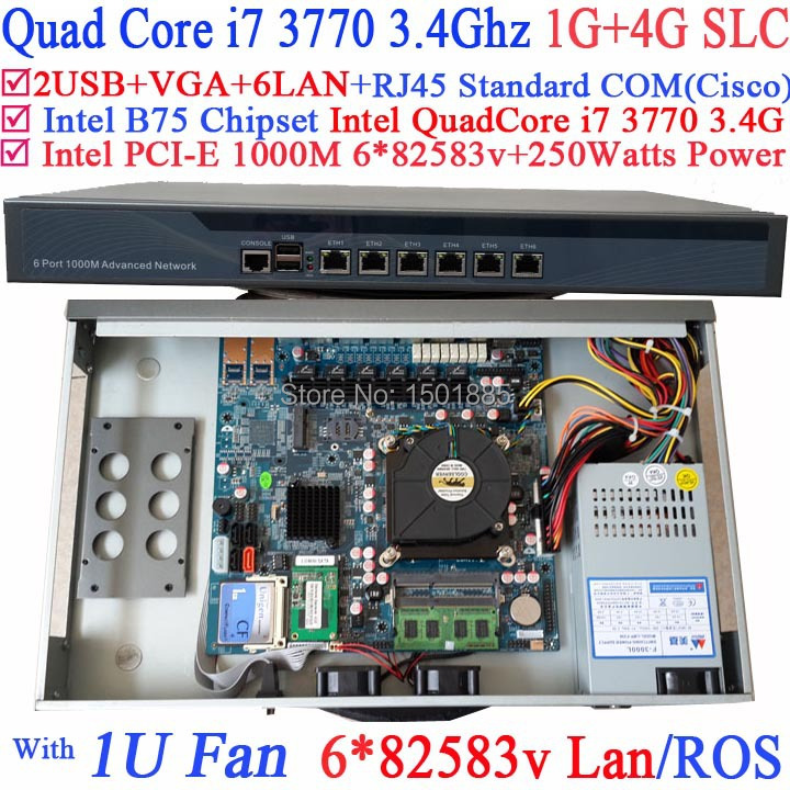 Routeur d'ordinateur pare-feu avec 6 Gigabit 82583 v Lan Intel Quad Core i7 3770 3.4 Ghz Wayos PFSense ROS support 1G RAM 4G SLC