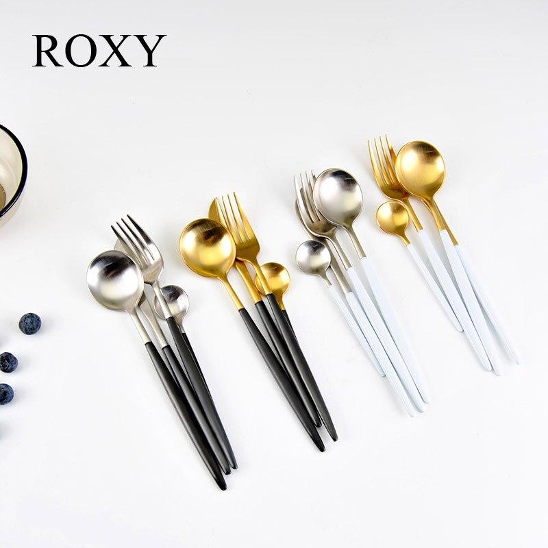24Pcs/set Dinnerware Set 304 Stainless Steel Black Cutlery Set Knife Fork Set Tableware Gold Plate Drop Shipping