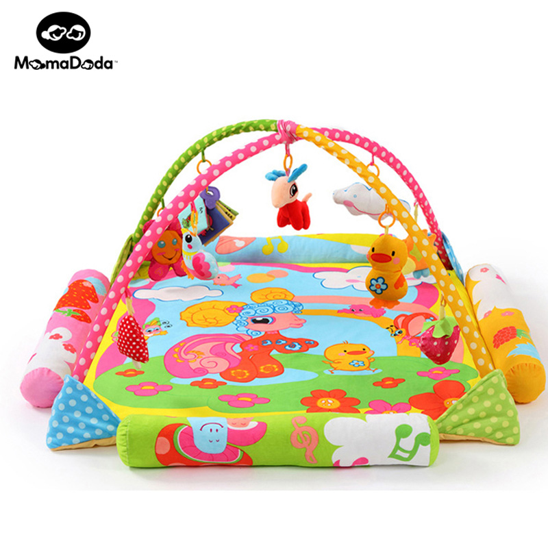 Cartoon Horse Baby Game Bed Cotton Colorful Soft Baby Crawling Mat With Rack Portable Folding Baby Crib Cot For Babies