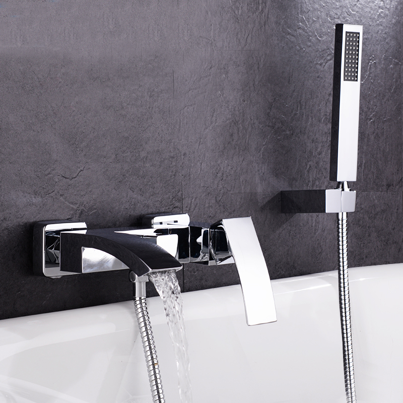 Free shipping Brass Construction Chrome Square Style Wall Mounted Bathutub Mixer Taps Waterfall Bath Shower Faucet