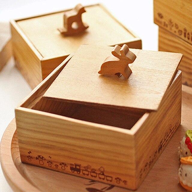 Vintage wooden box sundries storage box Japanese style cute animal