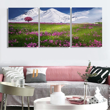 Laeacco Canvas Calligraphy Painting Winter Mountain Garden Posters and Prints Wall Artwork for Living Room Home Decor Pictures