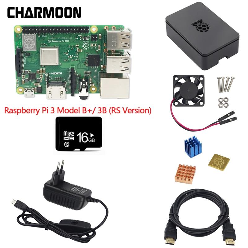 7pcs Kit Combo Raspberry Pi 3 Model B+ Motherboard 16GB MicroSD Card Raspberry pi Case Adapter, Heatsinks HDMI Cable