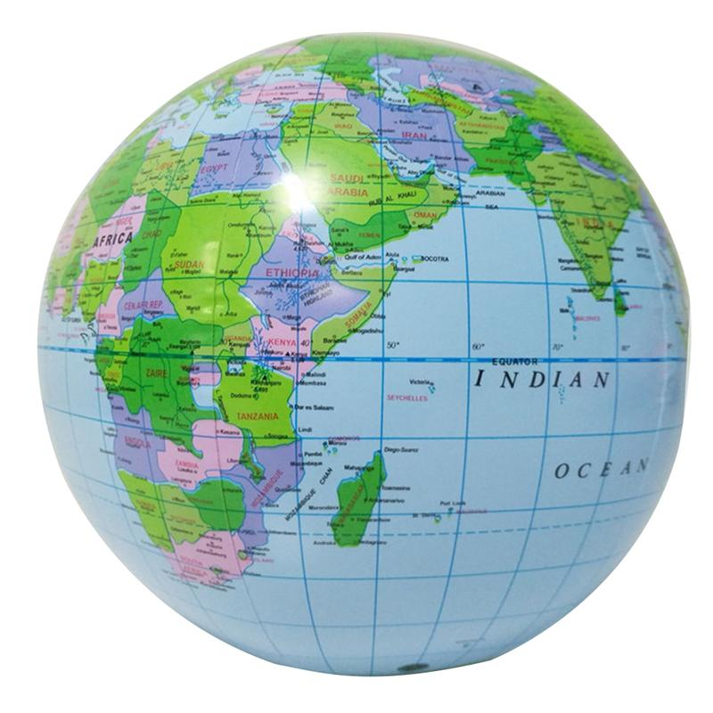 PVC Air Inflation English Globe Colorful World Map Stress Relief Toy Baby Kids Soft Ball
