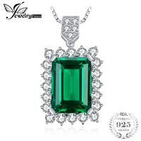 Brand New 11ct Emerald Necklace Pendant For Women 925 Solid Sterling Silver 2014 Style Luxury Wedding