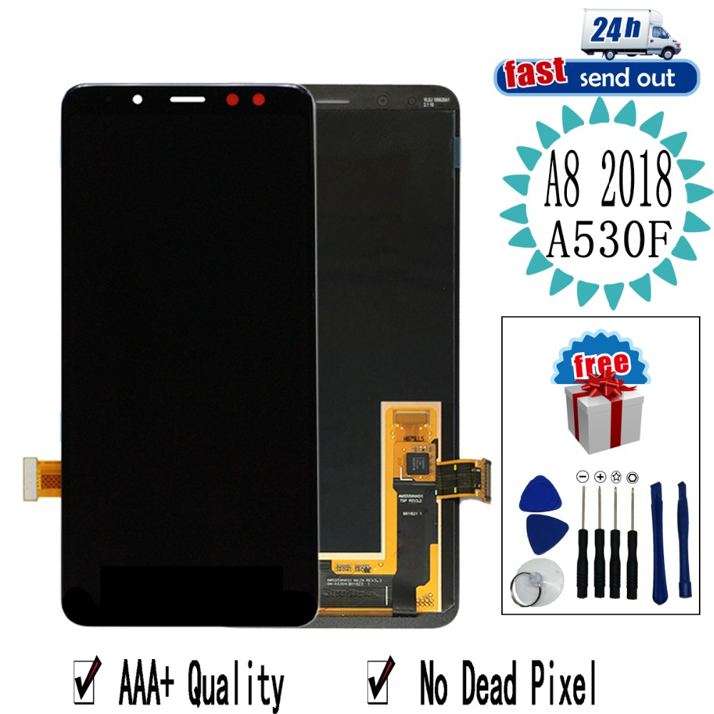 5.6'' AMOLED <font><b>A530F</b></font> LCD For <font><b>SAMSUNG</b></font> GALAXY A8 2018 A530 LCD Display A530DS A530N Touch <font><b>Screen</b></font> Tested Digitizer Assembly image