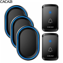 CACAZI Intelligent Wireless Doorbell Waterproof 1 2 Button 3 Receiver US EU UK AU Plug Home LED Light Call DoorBell