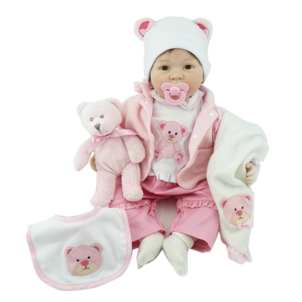 цены NPK 55cm Baby Doll Kit Silicone Lifelike Newborn Reborn Dolls for Kids Playmate Birthday Gift BM88