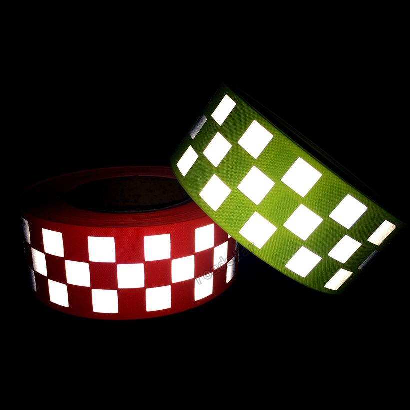 Fluorescent yellow & Fluorescent orange Warning Tape with Small Square for safety sew on clothing fluorescent orange yellow high