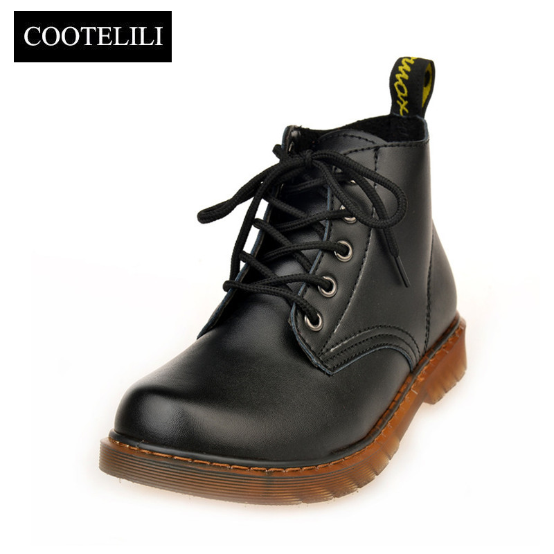 COOTELILI Shoes Woman Motorcycle-Boots Platforms Lace-Up Autumn Fashion Ankle Black Red