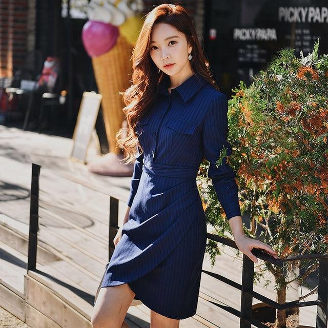 Dabuwawa Spring Office Lady Striped Shirt Dress 2019 Women New Long Sleeve Asymmetrical Bodycon Dresses Navy Blue DN1ADR012