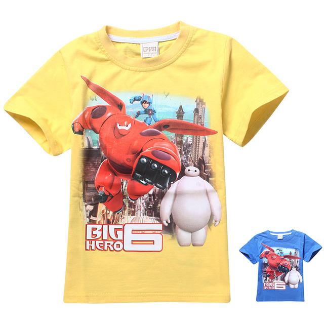 Gran héroe 6 Baymax camiseta de los muchachos para los niños de la historieta del verano del bebé camiseta de los niños ropa roupas infantis menino vetement garcon