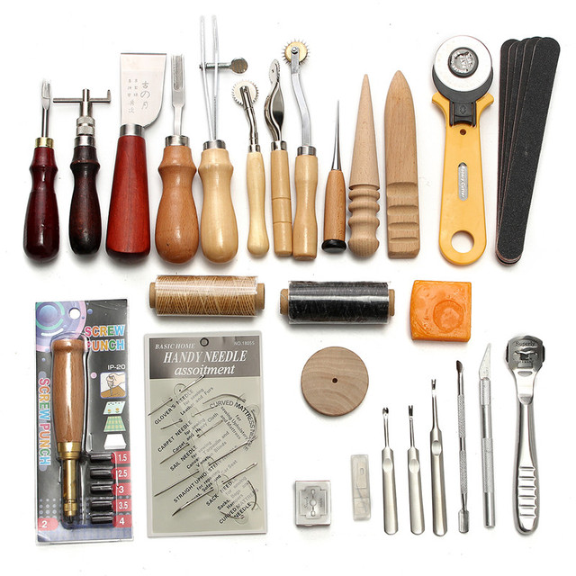 KiWarm 37 Pcs Leather Craft Tools Kit Hand Sewing