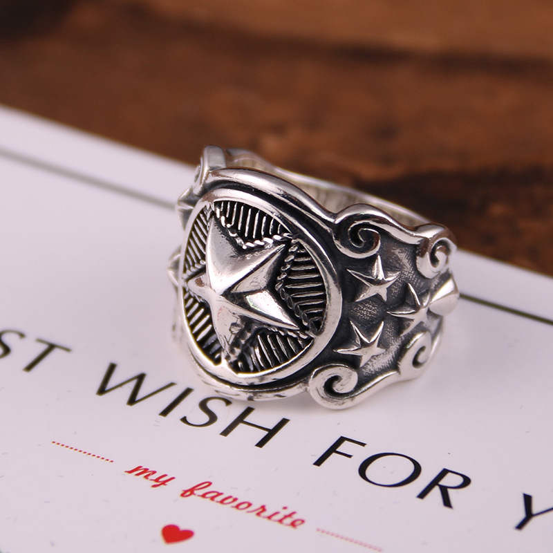 925 silver the Korean version of the fashion complex engraved with the Wu Yifan tidal wave of the five pointed star ring the power of five evil star