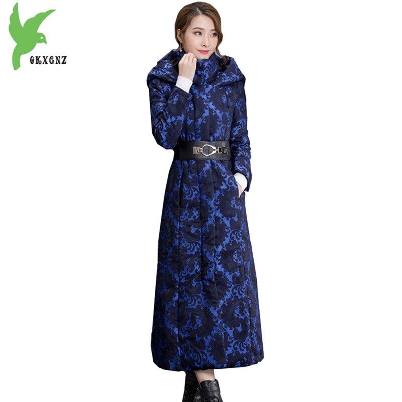 Для женщин зимняя куртка пальто Подпушка хлопок Мужские парки удлиняет стиль куртка с принтом толстые пальто с капюшоном Большие размеры У...