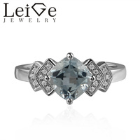 Leige Jewelry 925 Sterling Silver Aquamarine Rings Cushion Cut Engagement Rings For Woman March Birthstone Romantic GiftS