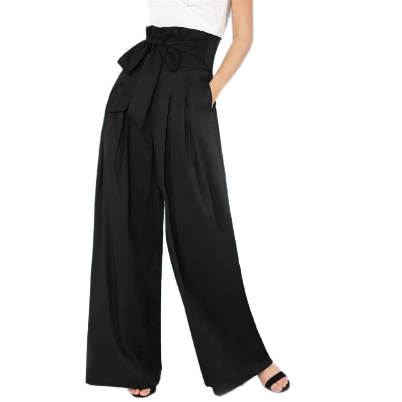 Self Belted Box Pleated Palazzo   Pants   Women Solid Elegant Loose Long   Pants   2019 Fall Casual Ginger High Waist   Wide     Leg     Pants