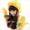 Winter light yellow color casual knitted hat  ladies knitting hat women's warm female hat free shipping