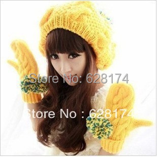 Winter light yellow color casual knitted hat ladies knitting hat women s  warm female hat free shipping 1bbe61f4d5d8