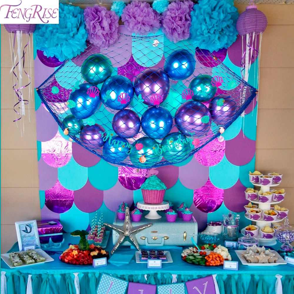 FENGRISE Mermaid Party Decoration Background Birthday Party Decoration Kids Mermaid Party Supplies Baby Shower Party Favor