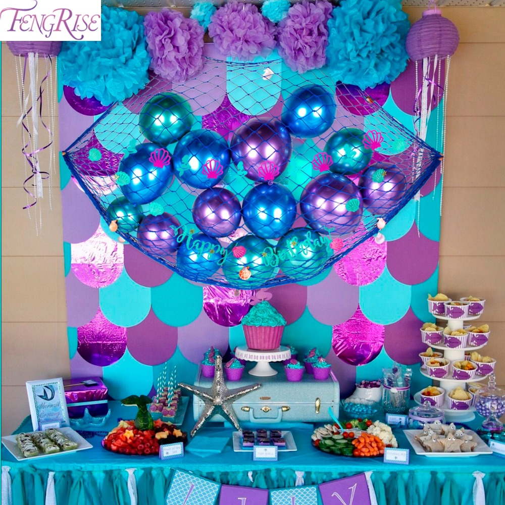 FENGRISE Mermaid Party Decoration Background Birthday Kids Supplies Baby Shower Favor