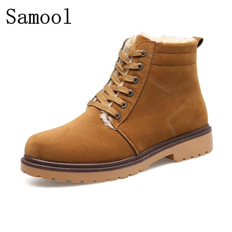 SAMOOL 2017 Winter Fur Men Ankle Boots Casual Lace Up Safety Martin Boots Autumn Men Platform Shoes Rubber Sole Men Snow Boot