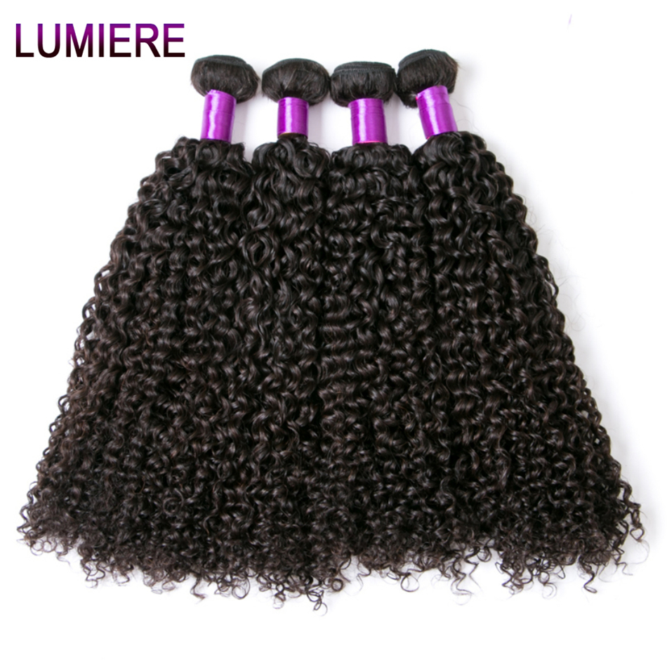 Lumiere Hair Brazilian Curly Weave Hair Bundles 4 Bundles/Lot 100% Human Hair Extensions Natural Color Non Remy Human Hair Weave