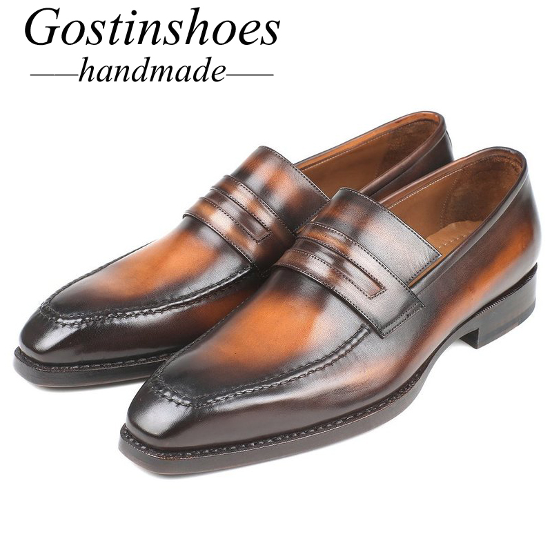 GOSTINSHOES HANDMADE Luxury Mens Loafers Brown Hand-Painted Slip-On Genuine Leather Goodyear Welted Casual Shoes Men SCT02GOSTINSHOES HANDMADE Luxury Mens Loafers Brown Hand-Painted Slip-On Genuine Leather Goodyear Welted Casual Shoes Men SCT02