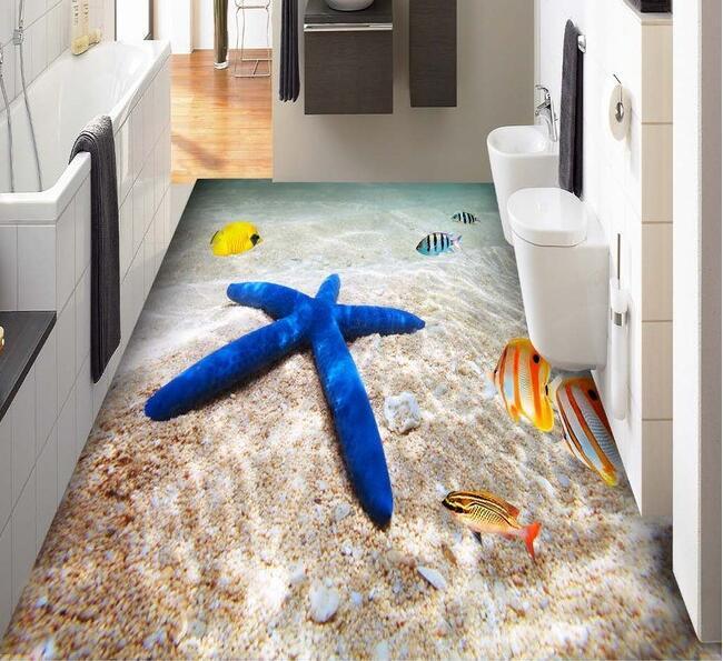 3 d pvc flooring custom wall paper 3d Ocean beach sea tropical fish 3 d bathroom flooring tile 3d wall murals wallpaper