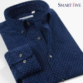 Smart Five 2017 Man's Shirt 97% Cotton Camisa Masculina Patterns Dot Men Shirt Long Sleeve Slim Fit Shirt Mens Brand Clothing