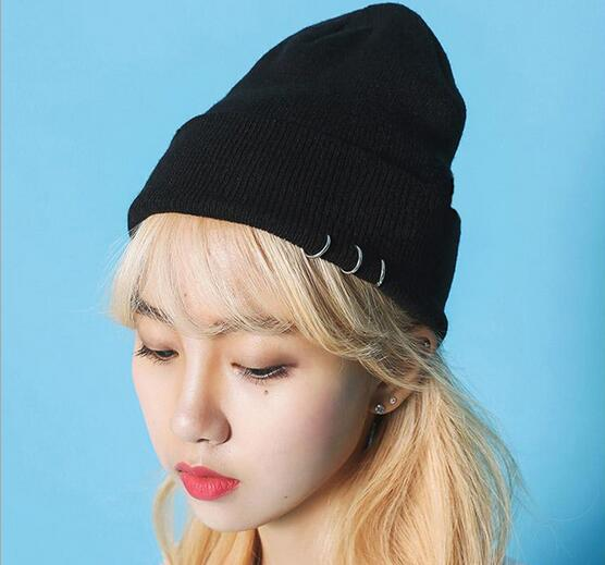 2016 Newest Beanies Hats Harajuku Punk Ring Safety Pin curved hats beanie cap men women gorras slouchy skullies